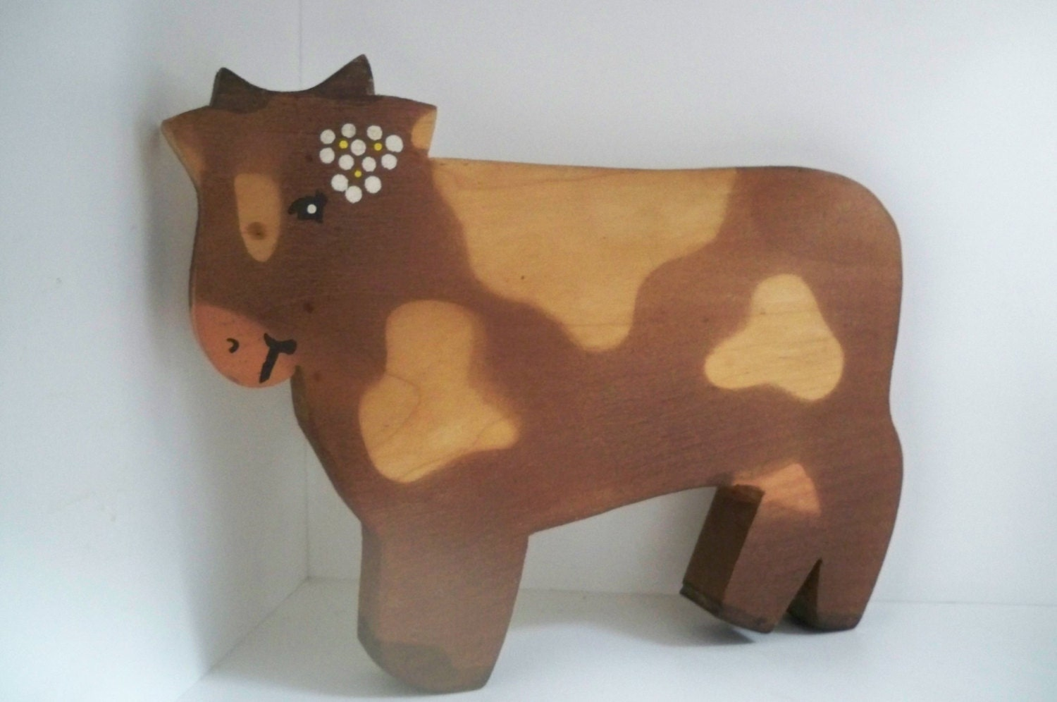 Vintage Home Decor Wall Hanging Kitchen Wood Cow Handmade