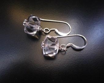 Rock Crystal Earrings, Faceted Rock Crystal Rondelles, Sterling Silver, Rock Crystal Silver Earrings, Rock Crystal Jewelry, Pumpkin Beads