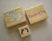 Creative Supplies - Rubber Stamps - Baby Theme Rubber Stamps - Stork with Baby - Baby Feet - Bundle of Joy - Baby Shower - Rubber Stamp Trio