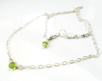 Dainty Peridot Necklace Silver Necklace / August Birthstone Gift for her Everyday Simple Jewelry  Layering Minimal Sterling Silver  Necklace