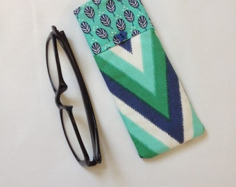 Reading Glasses Case, cheaters cozy, soft cotton, aqua, green chevron, small holder for eyeglasses, travel accessory for purse, gift for her