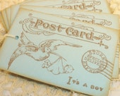 SALE Baby Boy Vintage Inspired Postcard Tags Baby Shower Its a Boy Set of 12