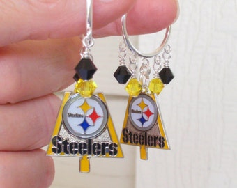Pittsburgh Steelers Earrings, Steelers TD Bling, Black and Gold Crystal Hoop Earrings, Pro Football Steelers Jewelry Accessory Fanwear