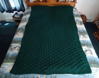 Forest Green Hand Knitted Basketweave Afghan, Blanket, Throw - Home Decor