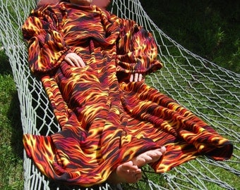 Fleece Flames Snuggly Blanket with Sleeves
