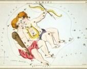 "Vintage Constellations Print ""Gemini"" - Twins Sign, Surreal Art, Zodiac Horoscope Print, Nursery Art, Naural History Print, Outer Space Art"