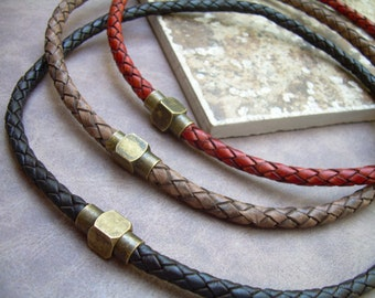 Mens Braided Leather Necklace with Antique Brass Magnetic Clasp,Leather Necklace, Mens Necklace,Mens Jewelry, Brass, Mens Gift, Gift for Him