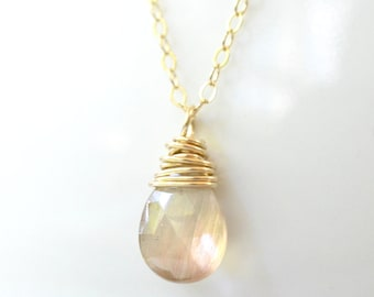 Oregon Sunstone Necklace Gold Filled Necklace Champagne Peach Stone Oregon Sunstone Jewelry