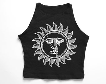 SUN AND MOON | Black high neck crop top
