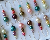 Beaded Ornament Hanger Hooks Colorful Assorted Colors on Gold Wire - FREE SHIPPING