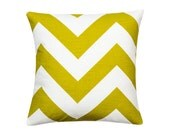 LEMON GREEN Pillow Cover.Decorator Pillow Cover.Home Decor.Large Print.CHEVRON.Cushions. Cushion.Pillow. Premier Prints
