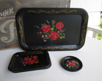 Vintage Metal Tray and Coaster Set Black Flower Design