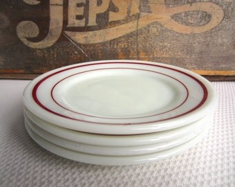 Vintage Pyrex Tableware Red Maroon  Band on White Bread and Butter Plates