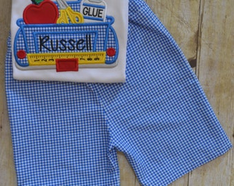 Boys gingham shorts with back to school applique top.