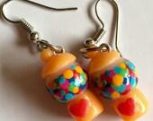 Tiny Orange Gumball machine earrings