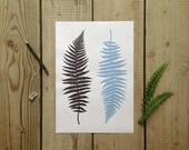 Fern botanical modern botany illustration drawing graphic digital print black and purple
