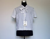 Polka Dot Blouse White Black Simple Short Sleeve Shirt Button Up Bow Tie Neck Top Plus Size - Extra Large XL XXL 1X 2X
