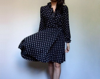 Polka Dot Dress 70s Black White Dress Ruffle Neck Casual Day Dress Vintage - Small to Medium S M