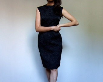 60s Black Shift Dress Sleeveless Winter Wiggle Dress 1960s Classy Pencil Dress - Small S