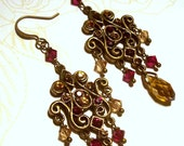 Antique Brass Chandelier Earrings with Topaz and Garnet Crystal Accents