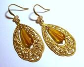 Vintage Amber Frosted Glass Teardrop Gold Filigree Teardrop Hoop Earrings