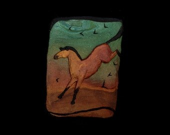 Horse Jewelry: Big Jump Horse Pin or Pendant. Original Low-Relief or Bas-Relief Sculpture. Green, Gold, Copper, Brown and Black 3903