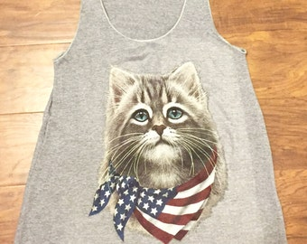 Cat US Flag Bandana Tank Top Made in USA Tri-blend Gray XS S M or L