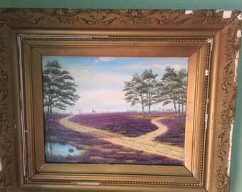 Antique painting of lavender or blue bonnets signed