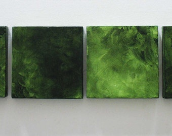 Large Green Wall Art - Green Wall Decor - Modern Abstract Art - Minimalist -Mini Canvas Square-set of 15 -Large