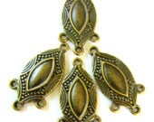 6 Antique bronze oval Chandelier  components jewelry Findings ethnic jewelry 33mm x 17mm  464Y