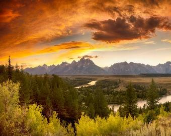 Grand Teton Photography Mountain Sunset Wyoming Photo Landscape Rockies Photograph Wall Art Home Decor nat145