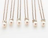 Pearl Wedding Hair Pins. Set of 6, 8mm Swarovski Crystal Pearls. Bridal Hair Pins. Wedding Hair Accessories.