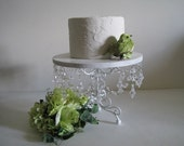 "Shabby White Wood and Crystal Scroll 12"" Chandelier Cake Stand MADE TO ORDER"