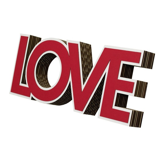 Red Love Wall Decor : Love red cardboard wall art in white by