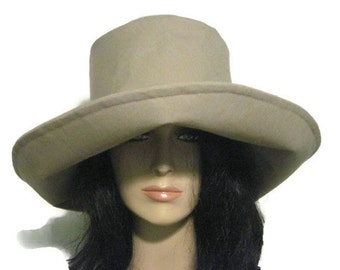 Tan Wide Brim Hat, Sun Hat, Womens Winter Hat