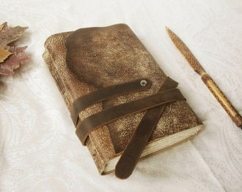 personalized leather journal with vintage style pages, custom quote text on first page, free custom monogramming - Autumn Leaves
