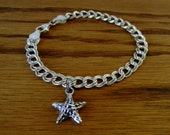 Vintage Sterling Silver Charm Bracelet and Starfish Charm