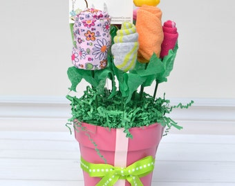 Baby Girl Gift Bouquet Basket, Baby Shower Centerpiece, Baby Hospital Gift, Made of Layette Items Including Onesies, Bibs, Washcloths & More