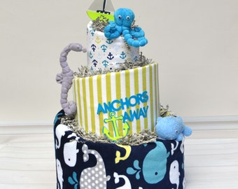 Nautical Diaper Cake, Nautical Baby Shower, Under the Sea Shower Decoration or Centerpiece, Anchors Away, Sea Horse, Octopus Boy Gift