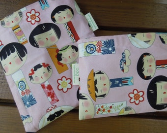DISCOUNTED reusable sandwich and/or snack bag - Girly sandwich bag - Reusable snack bag - Yui Kokeshi dolls - Pls read notes