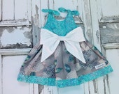 Pen & Ink Baby Big Bow Dress Ready To Ship Size 12-18 Months Handmade Made in USA