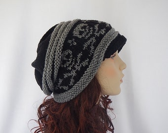 Hand knit Slouch hat with skulls and cross bone in black and gray-Newsboy style