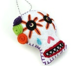 Hand Embroidered Sugar Skull Ornament - Day of the Dead Sugar Skull Ornament - Colorful Felt Sugar Skull Halloween Decoration