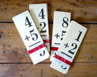 25 vintage flash cards, addition flashcards, math flash cards, mathematics flash cards, school flash cards set of flash cards back to school