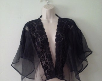 Sheer black retro 50's style bed jacket with lace trim