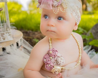 Cream Dusty Rose Glass Pearl Beaded Necklace, Baby Girl first birthday outfit toddler fabric flower girl Newborn photo prop, Infant Jewelry