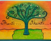 Pyrography wood sign - Om shanti shanti shanti
