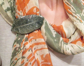 Clay Leaves Shimmer and Clip Scarf or Hair
