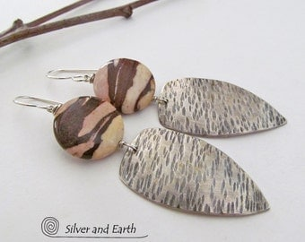 Silver Tribal Earrings Sterling Silver Earrings Zebra Jasper Earrings Natural Stone Jewelry Handmade Artisan Silver Jewelry Shield Earrings