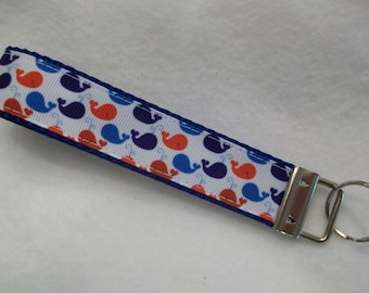 Whales Key Fob / Key Wristlet Red, White and Blue